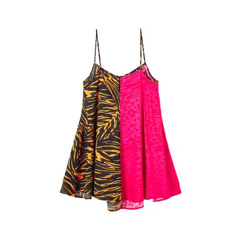LIGER FUSCHIA / TIGER BAE COMBO SWING DRESS