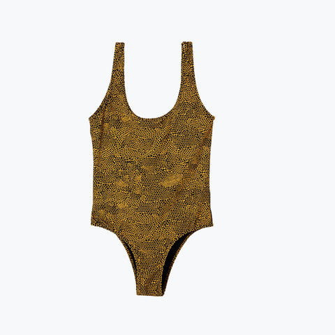 LOUNGE LIZARD GOLD ONE PIECE SWIMSUIT