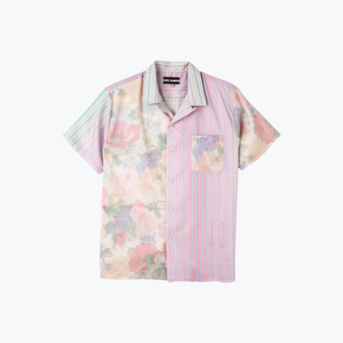 FLORAL STRIPE COMBO HAWAIIAN SHIRT