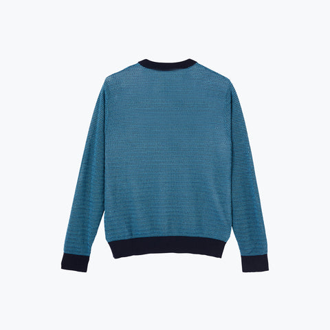 NAVY / TEAL CREW KNIT