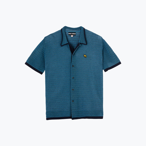 NAVY / TEAL KNIT SHIRT