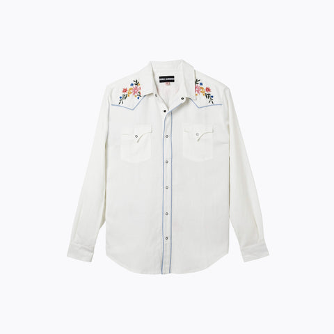 WHITE LONG SLEEVE WEST WORLD SHIRT