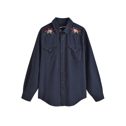 FLORAL SKULL NAVY WEST WORLD SHIRT