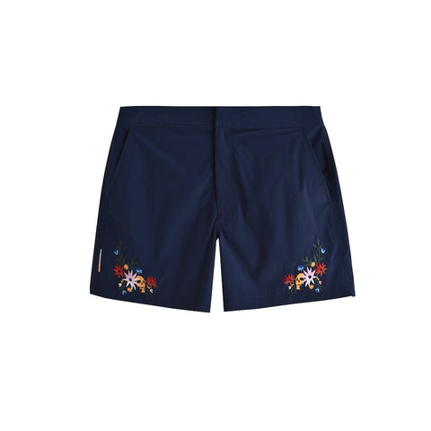 FLORAL SKULL NAVY POOL SHARK SWIM SHORT
