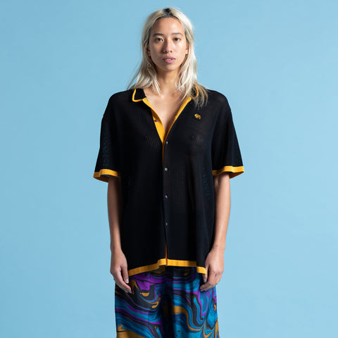 BLACK KNIT HAWAIIAN SHIRT