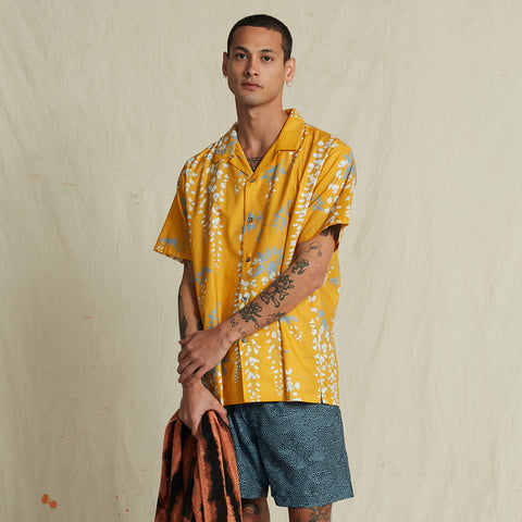 OVER THE FALLS TURMERIC HAWAIIAN SHIRT