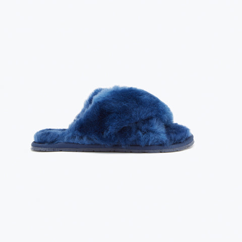 NAVY SHEEPSKIN CROSSOVER SLIPPERS