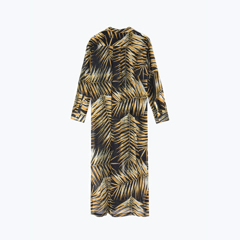 TIGER PALM MAXI SHIRT DRESS