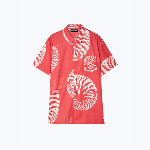 CORAL/WHITE CIRCLE PRINT HAWAIIAN SHIRT