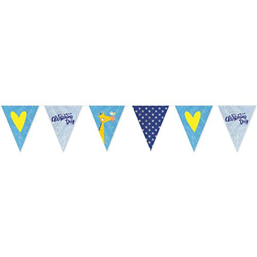Amscan International 9901957 On your Christening Day Blue Foil Pennant Banner