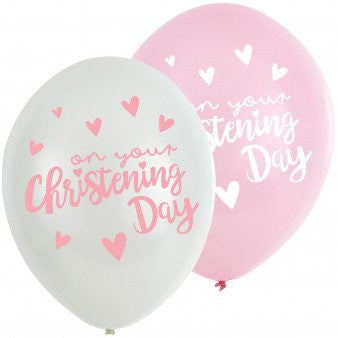 Amscan 9901950 11-Inch On Your Christening Day Pink Latex Balloon