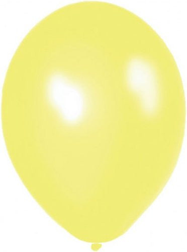 Amscan 27.5 cm 50 Zesty Lemon Metallic Latex Balloon