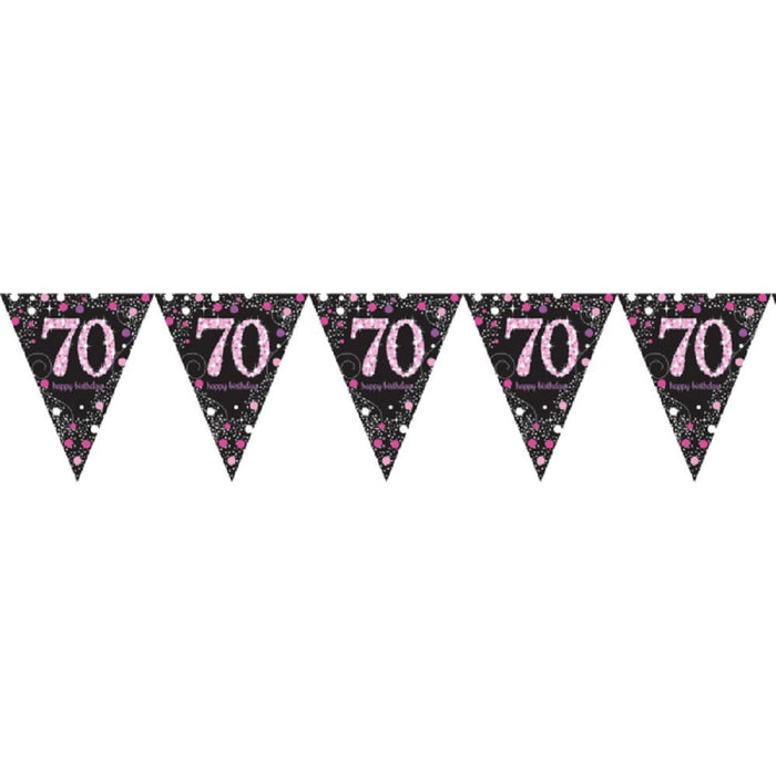 Amscan International 9901740 4 m x 20 cm Pink Celebration 70th Plastic Pennant Bunting