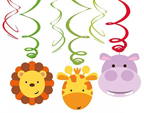 Amscan International 9901924 Jungle Friends Swirl Decorations
