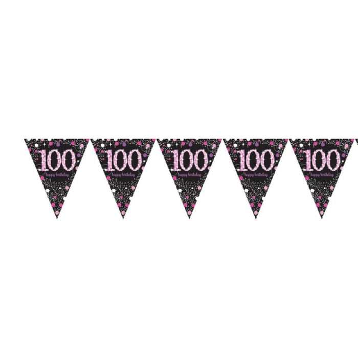 Amscan International 9901764 4 m x 20 cm Pink Celebration 100th Plastic Pennant Bunting