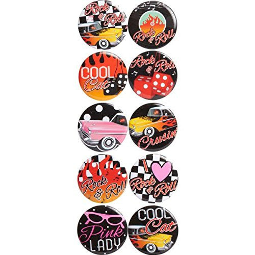 Amscan 50s Classic Badges/ Buttons