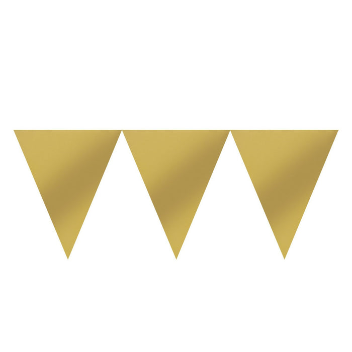 Amscan International 120099-19-55 4.5 m x 16 cm Gold Pennant Bunting