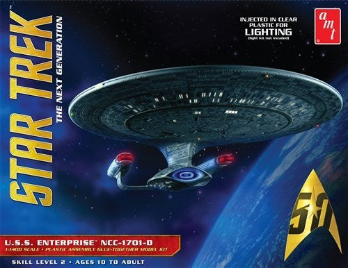 "AMT AMT955 1:1400 Scale ""Star Trek USS Enterprise 1701-D - Clear Edition"" Model"
