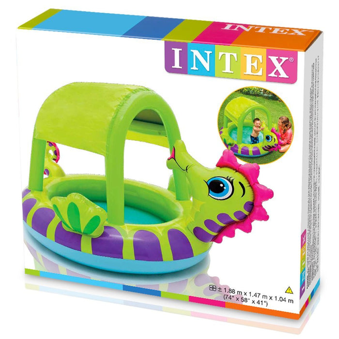Intex Seahorse Baby Inflatable Swimming Paddling Pool or Ball Pond #57110NP. Shaded Paddling Pool for babies or children