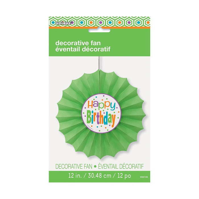 30cm Citrus Polka Dot Birthday Tissue Paper Fan Decoration