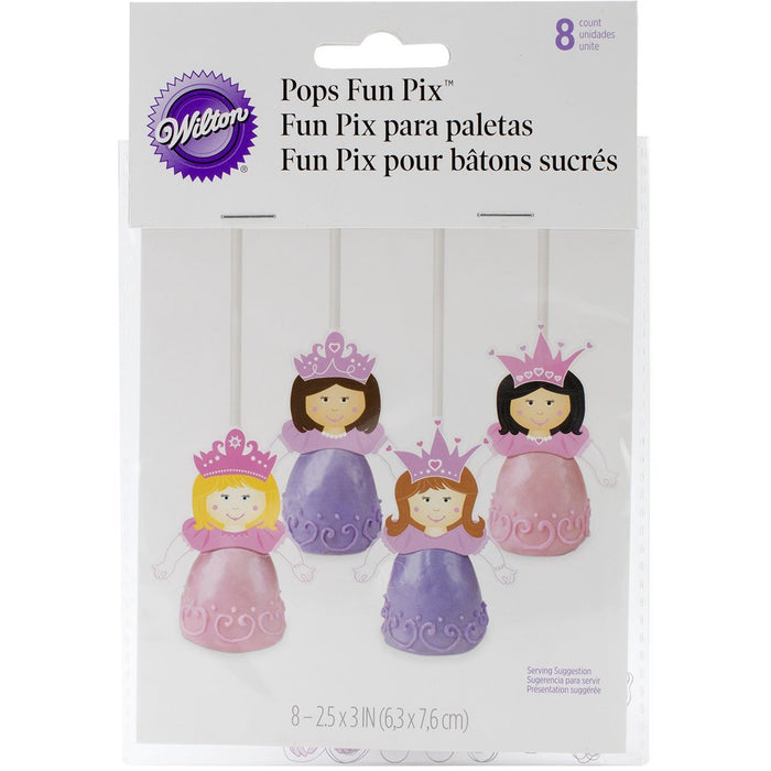 Wilton Pops Picks Princess, Pack of 8