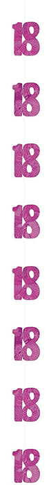 5ft Hanging Glitz Pink 18th Birthday Decorations, Pack of 6