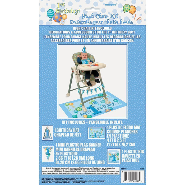 Blue Balloons 1st Birthday High Chair Decorating Kit