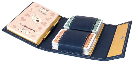 Modiano buraco Playing Cards in a Leather Pouch - Blue