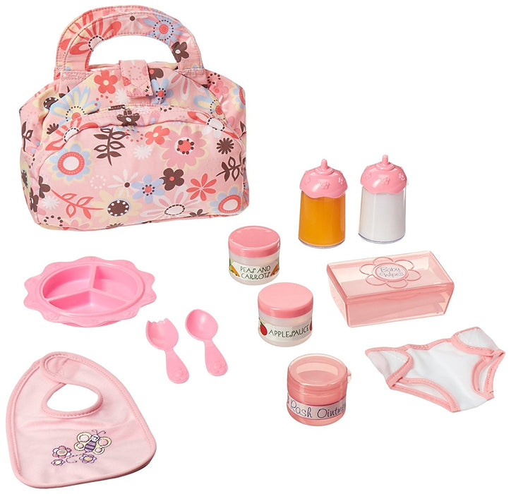 Melissa & Doug Doll Feeding and Changing Accessories - Bib, Bag, Diaper, Wipes, Utensils, Bottles