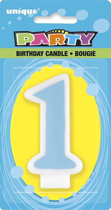 Blue Number 1 First Birthday Candle