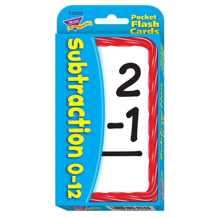 Trend 56-Piece 8 x 13 cm Subtraction Pocket Flash Cards, White
