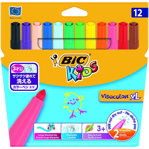 BIC Kids Visacolor XL Colouring Pens, Pack of 12
