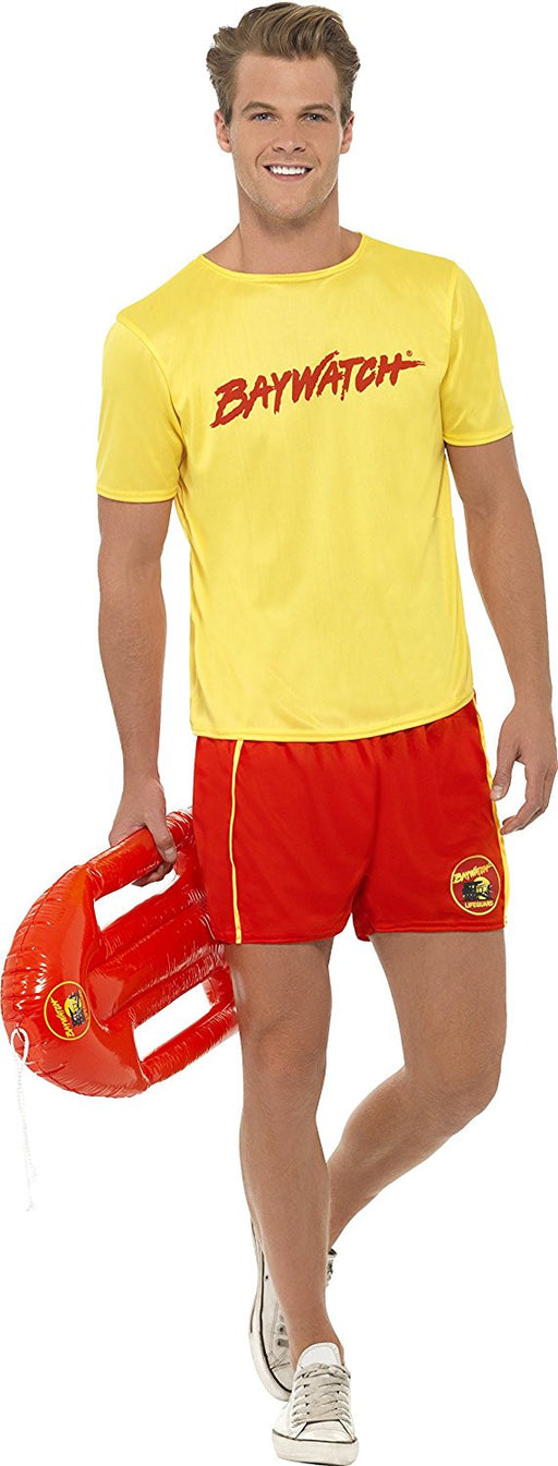 Smiffy's Adult men's Baywatch men's Beach Costume, Top and Shorts, Baywatch, Serious Fun, Size M, 32868