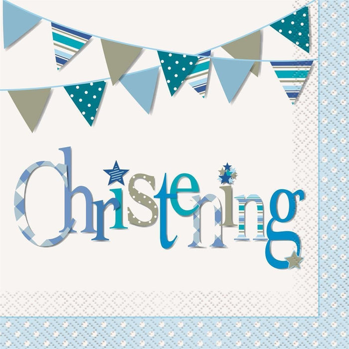 Blue Bunting Christening Napkins, Pack of 16