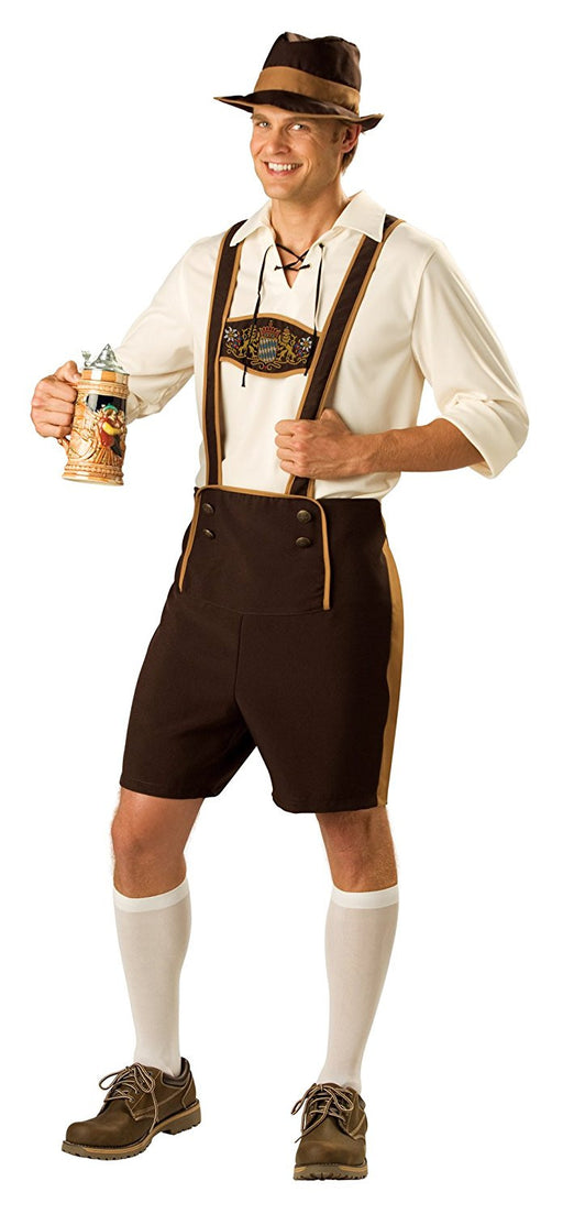 "German Bavarian Mens Fancy Dress Oktoberfest German Lederhosen Adults Costume, XL 46 -48"" Chest"