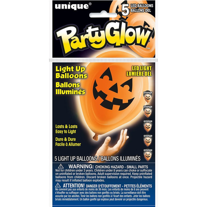 "10"" Latex Pumpkin Face Halloween LED Light Up Balloons, Pack of 5"