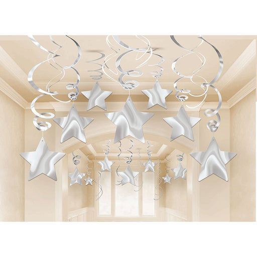 Amscan Swirl Shooting Stars Party Accessory, Silver