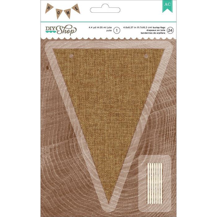 American Crafts DIY Shop 2 Banner 24pcs W/4.4yd Jute String-Natural Burlap Pennant, 4.6-inch x 6.37-inch, Other, Multicoloured