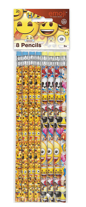 Emoji Pencils Party Bag Fillers, Pack of 8