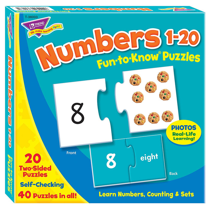 Fun To Know 40-Piece 333G Paper Fun To Know Puzzles Numbers 1-20, White