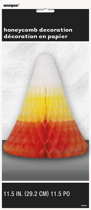 30cm Honeycomb Candy Corn Halloween Centrepiece Decoration