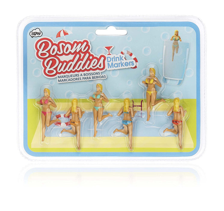NPW Novelty Drink Glass Markers - Set of 5 Bosom Buddies