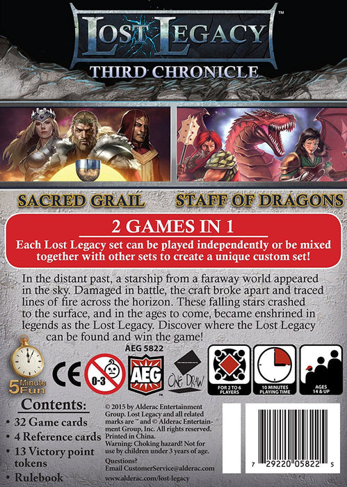 Alderac Entertainment Group Lost Legacy 3rd Chronicle Sacred Grail and Staff of Dragons Card Game