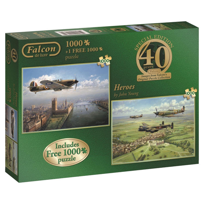 Falcon de luxe 40th Anniversary Heroes Jigsaw Puzzles (2 x 1000-Piece)