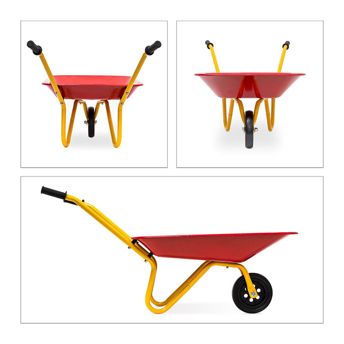 Relaxdays Wheelbarrow for Children 36 x 37 x 75 cm Push Cart for Kids Metal with Large Wheel, Ideal for Playing Indoors or Outdoors, Red