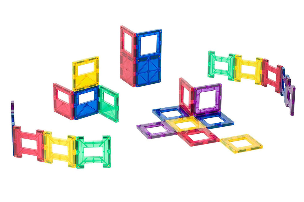 Playmags 48 Piece Set: Now with Stronger Magnets, Sturdy, Super Durable with Vivid Clear Color Tiles
