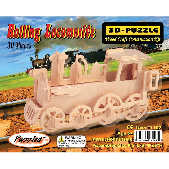 Puzzled Wood Jigsaw 3D 30 Pieces 9.5-inch x 3-inch x 5-inch, Train