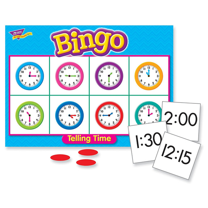 Fun to Know 36-Piece 333 g Learning Telling the Time Bingo Games, White