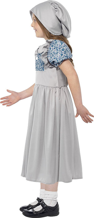 Smiffy's Children's Victorian School Girl Costume, Dress & Hat, Ages 7-9, Colour: Grey