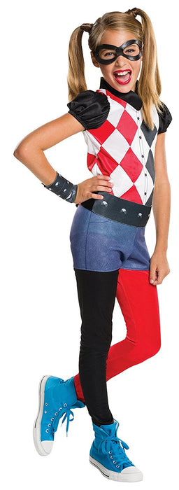 Rubie's Official Harley Quinn Girls Fancy Dress DC Comic Book Day Supervillain Childs Costume